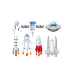 Spacecraft set futuristic vector