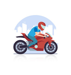 sports racing motorcycle racer against backdrop vector image