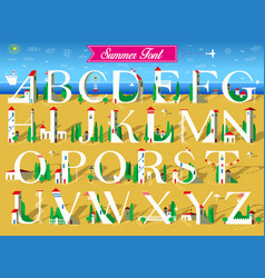 summer font white houses on the beach vector image