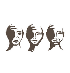 the monochrome faces of people vector image