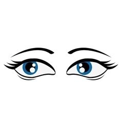 Tired femenine cartoon eyes icon vector