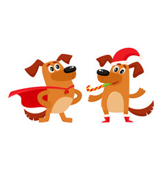 Two dog characters christmas hat superhero cape vector