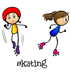 Two girls skating vector