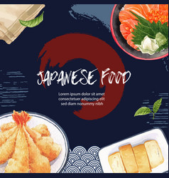 Watercolor graphic creative sushi-themed vector