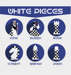 white chess pieces set vector image