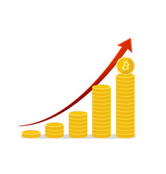 bitcoin financial growth stacks of gold coins vector image