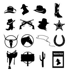 Cowboy icons set vector image vector image