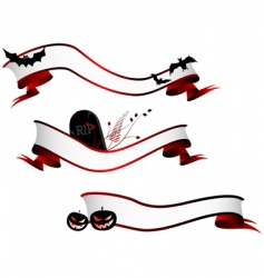 halloween horizontal banners set vector image