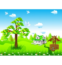 house in field vector image