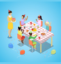 isometric birthday party celebration with children vector image vector image