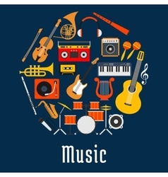 Music round symbol with musical instruments vector image vector image