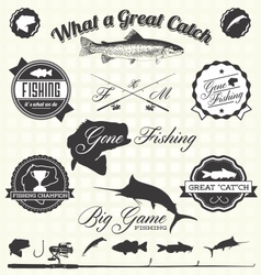 Retro Gone Fishing Labels and Icons vector image