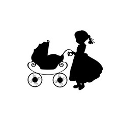 silhouette family girl with sidecar vector image