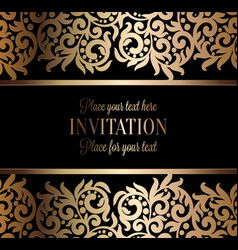 antique baroque wedding invitation gold on black vector image