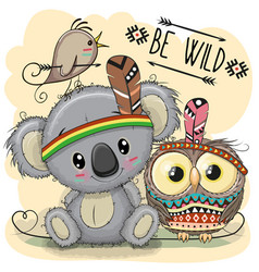 cute cartoon tribal koala and owl vector image