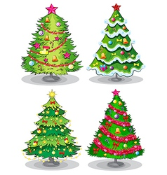 Four decorated christmas trees vector image vector image