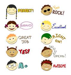 kids face set vector image