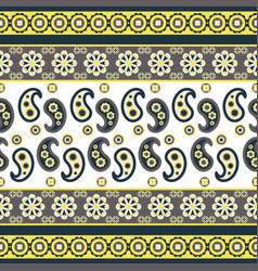 paisley flower pattern seamless row vector image vector image