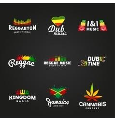 Set of africa flag logo design Jamaica music vector image vector image