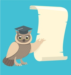 Wise Owl with a Scroll vector image