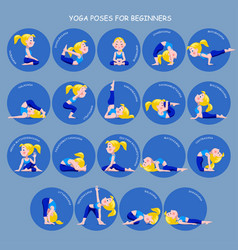 cartoon blonde girl in yoga poses with titles for vector image vector image
