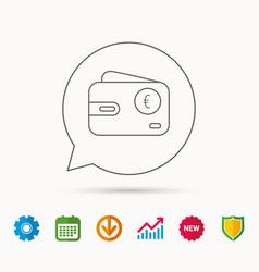 Euro wallet icon eur cash money bag sign vector