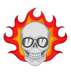 flaming skull icon cartoon style vector image vector image