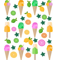 ice cream citrus background pattern vector image