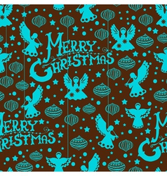Christmas seamless background with angels vector image