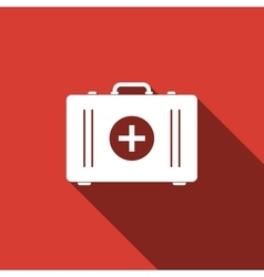 First aid box icon with long shadow vector image