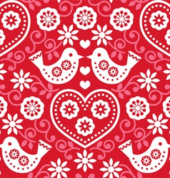 Folk art red seamless pattern with birds vector image vector image