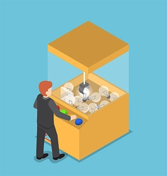 Isometric businessman getting glowing light bulb vector image