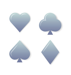 Silver playing cards symbols set on white vector
