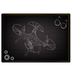 3d quadcopter model on a black vector image