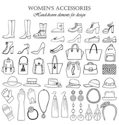 a set of hand-drawn elements for the design vector image