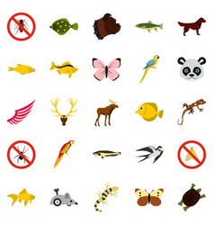 Asian animals icons set flat style vector