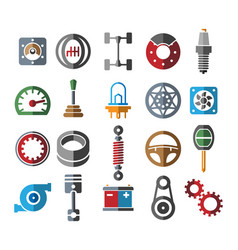 automotive parts icons vector image