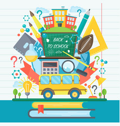 Back to school banner with bus and flat icon set vector