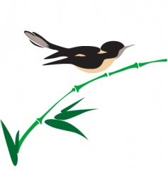 bird on bamboo vector image
