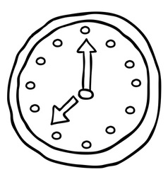 Black and white wall clock cartoon doodle vector