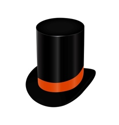 Black top hat with orange ribbon vector image