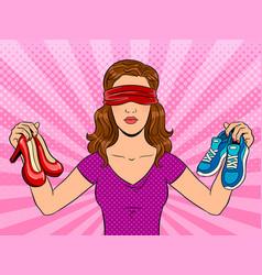 blindfolded girl pop art vector image