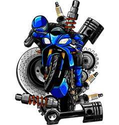 Blue motorbike with spares vector
