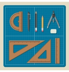 Blueprint with architectural equipment vector