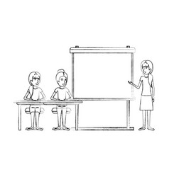 blurred silhouette pair of women sitting in a desk vector image