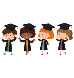 Boys and girls in graduation gown vector