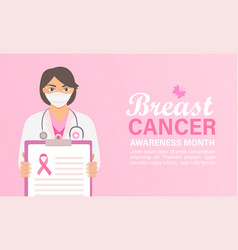 breast cancer awareness month banner with doctor vector image