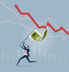 businessman with money flag success concept vector image