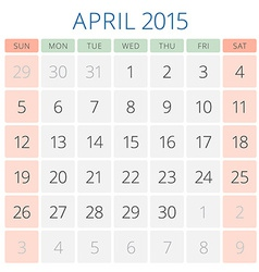 Calendar 2015 April design template vector image