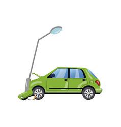 Car bumped at the lamp post car insurance cartoon vector